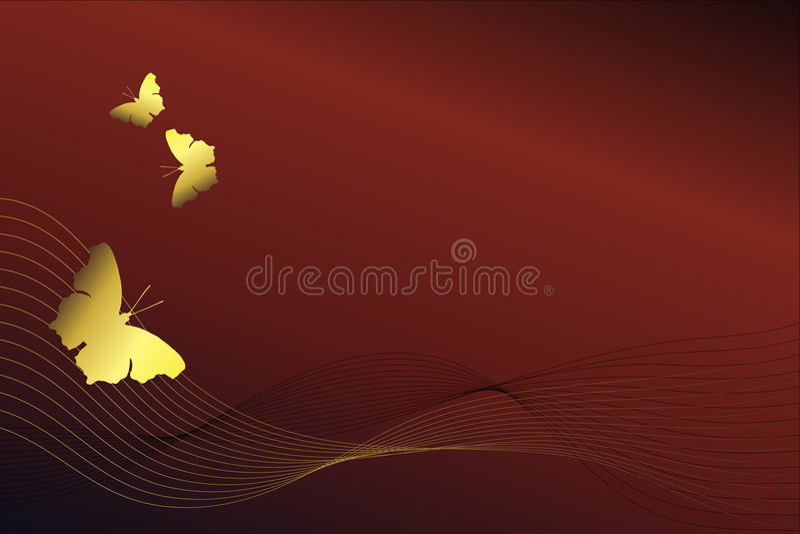 Borboletas douradas em um fundo vermelho ilustração stock
