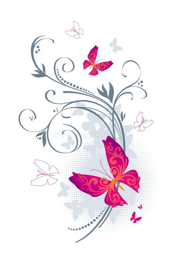 Borboletas e flora ilustração do vetor