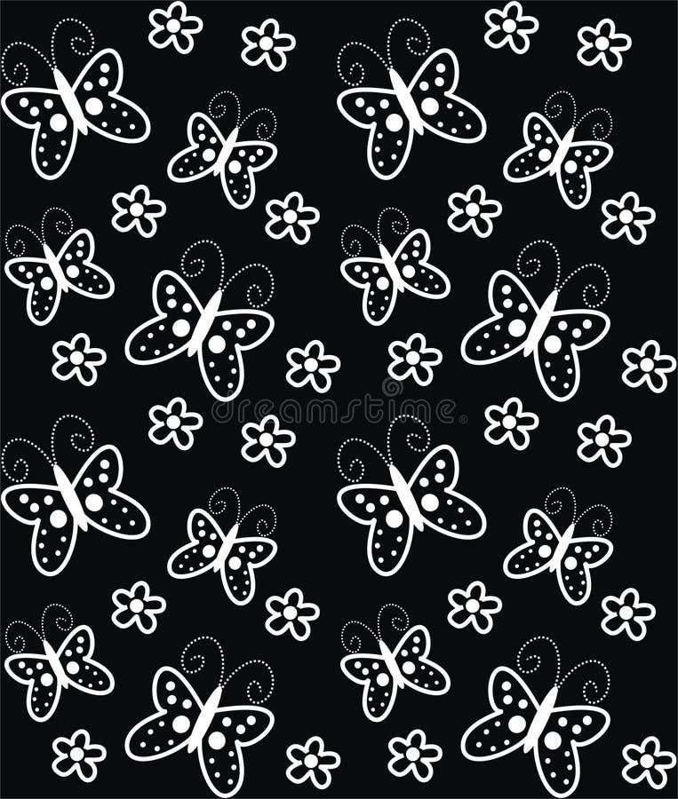 Borboletas e flores ilustração stock