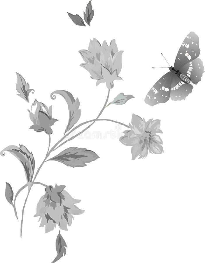 Borboletas e flores no cinza ilustração do vetor