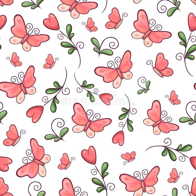 Borboletas e flores sem emenda do teste padr?o Desenho da m?o Ilustra??o do vetor ilustração royalty free