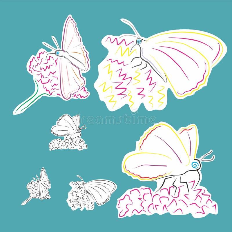Borboletas em flores ilustração do vetor