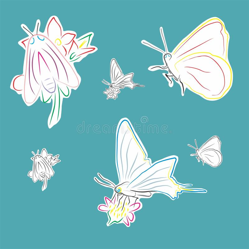 Borboletas em flores ilustração royalty free