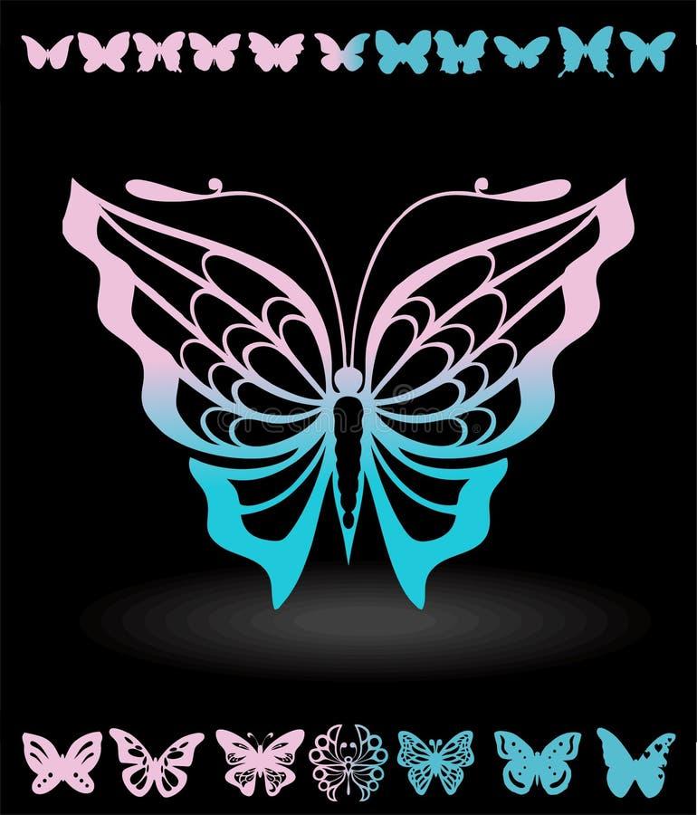 Borboletas estilizados e silhuetas das borboletas artigos para cartão ilustração royalty free