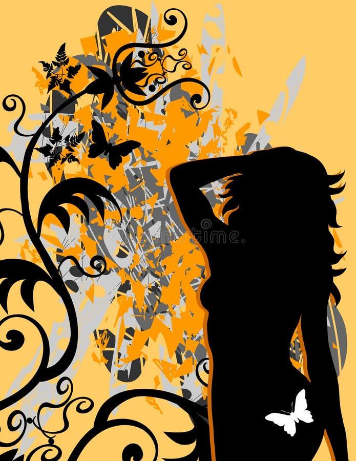 Borboletas fêmeas de Grunge 'sexy' ilustração royalty free