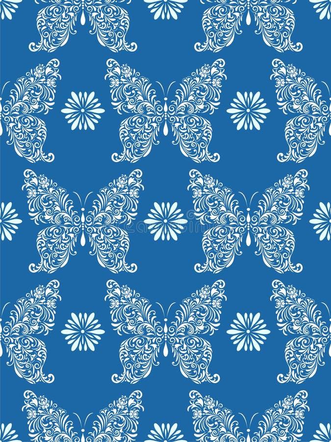 Borboletas florais abstratas no fundo azul ilustração do vetor