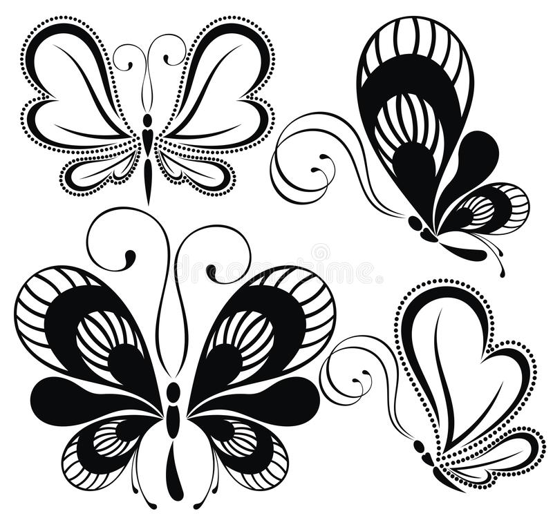 Borboletas preto e branco ilustração royalty free
