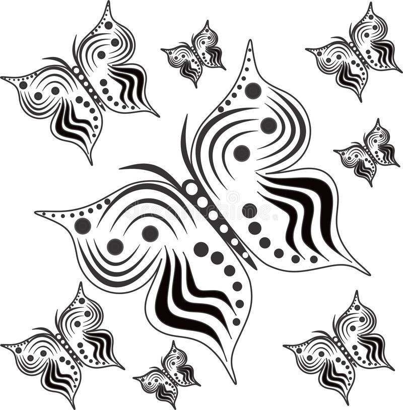 Borboletas preto e branco com tamanhos diferentes ilustração do vetor
