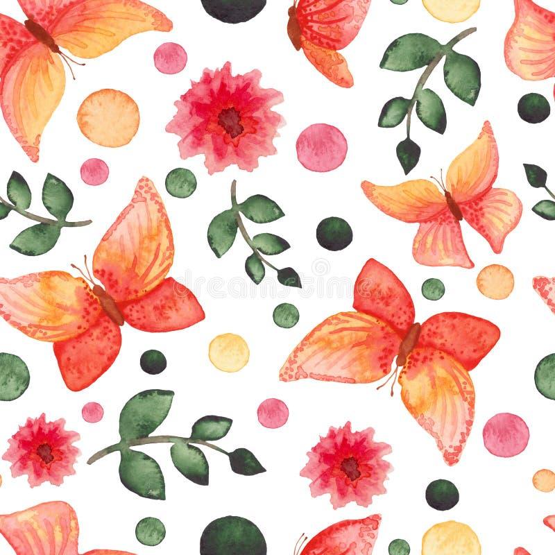 Borboletas vermelhas e amarelas da aquarela, flores e Dots Repeat Pattern verde ilustração stock