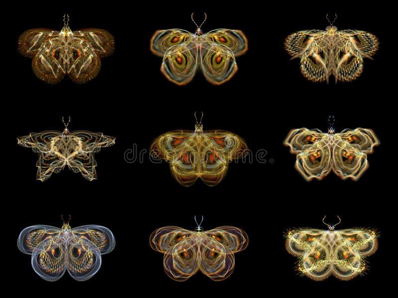 Borboletas virtuais do Fractal ilustração do vetor
