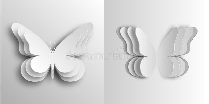 Borboletas volumétricos no estilo de papel ilustração do vetor