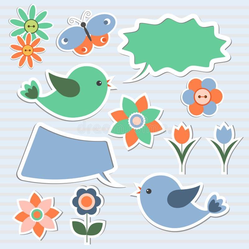 Borbulha o discurso, pássaros, flores ilustração do vetor