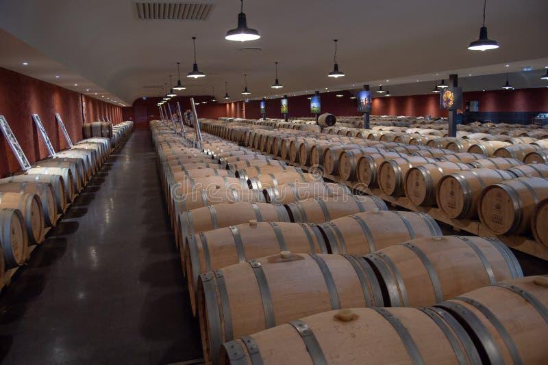 Bordéus, França - 6 de junho de 2017: Vinhos que fermentam em grandes tambores tradicionais do carvalho na adega de vinho imagem de stock