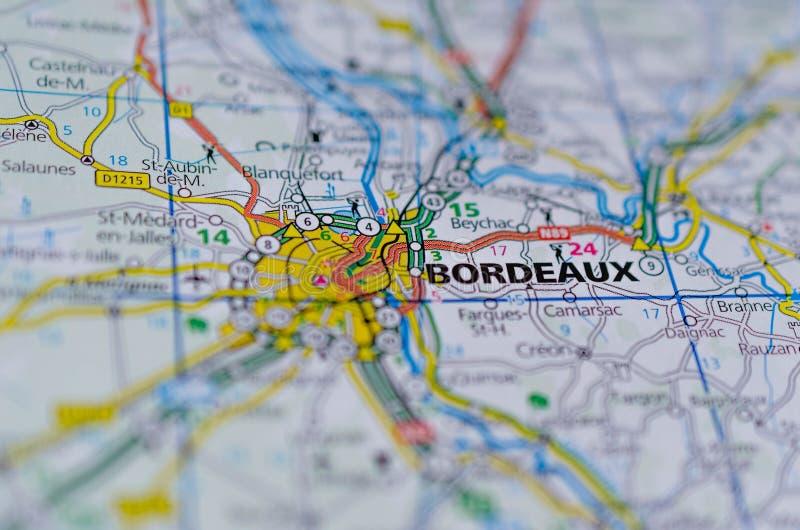 Bordéus no mapa foto de stock royalty free