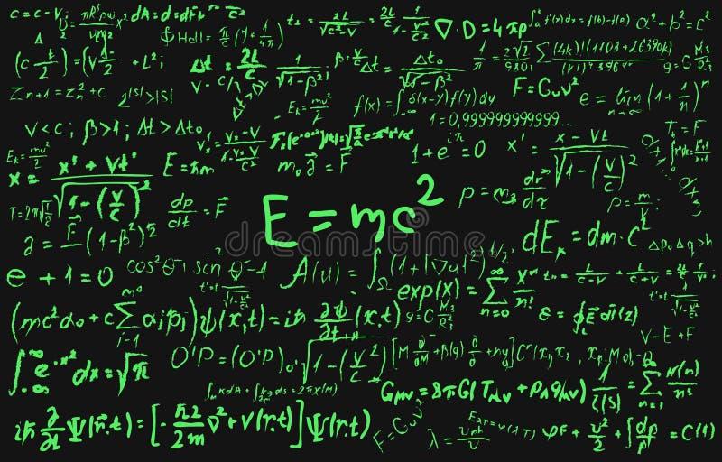 Bord dat met wetenschappelijke formules en berekeningen in fysica en wiskunde wordt ingeschreven Kan wetenschappelijk illustreren royalty-vrije illustratie