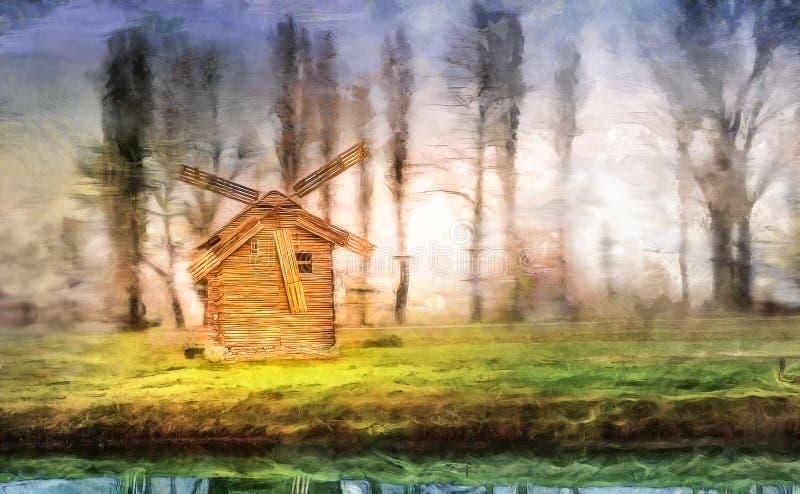 Bord de lac de moulin à vent photo libre de droits