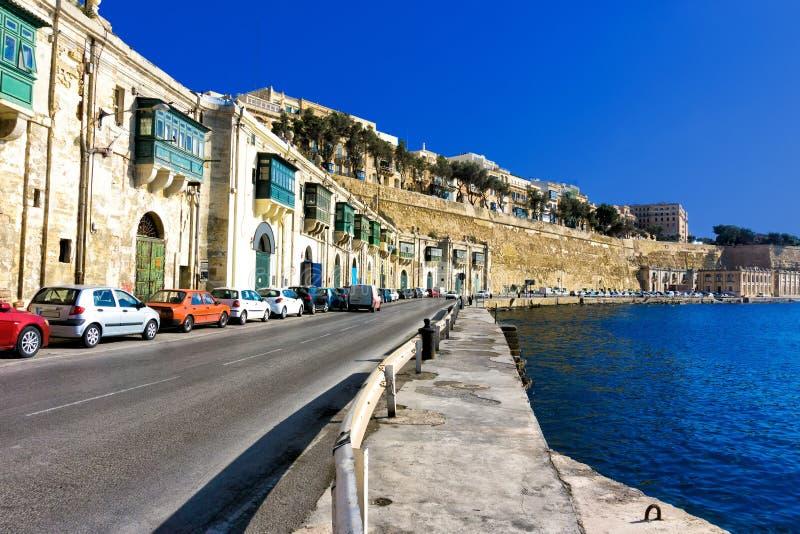 Bord de mer à La Valette, Malte image libre de droits