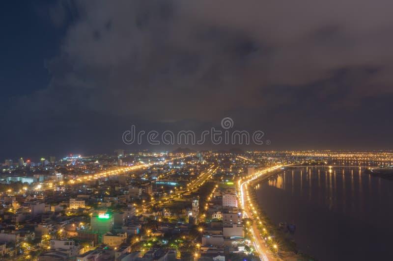 Bord de mer de Danang par nuit photo stock