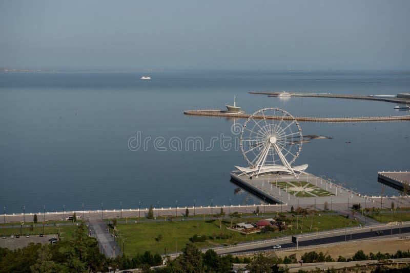 Bord de mer de Bakou d'en haut image stock