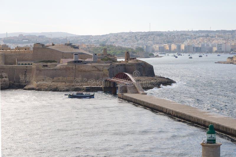 Bord de mer de fort St Elmo - de La Valette - Malte image libre de droits