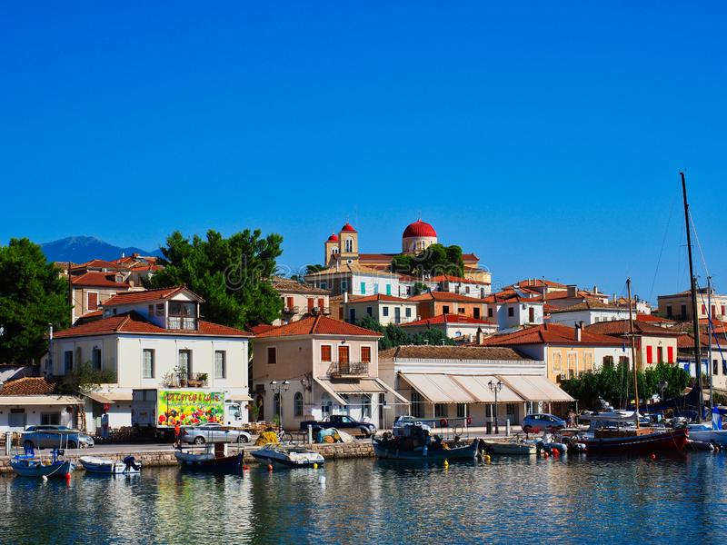 Bord de mer scénique de port, Galaxidi, Grèce photographie stock