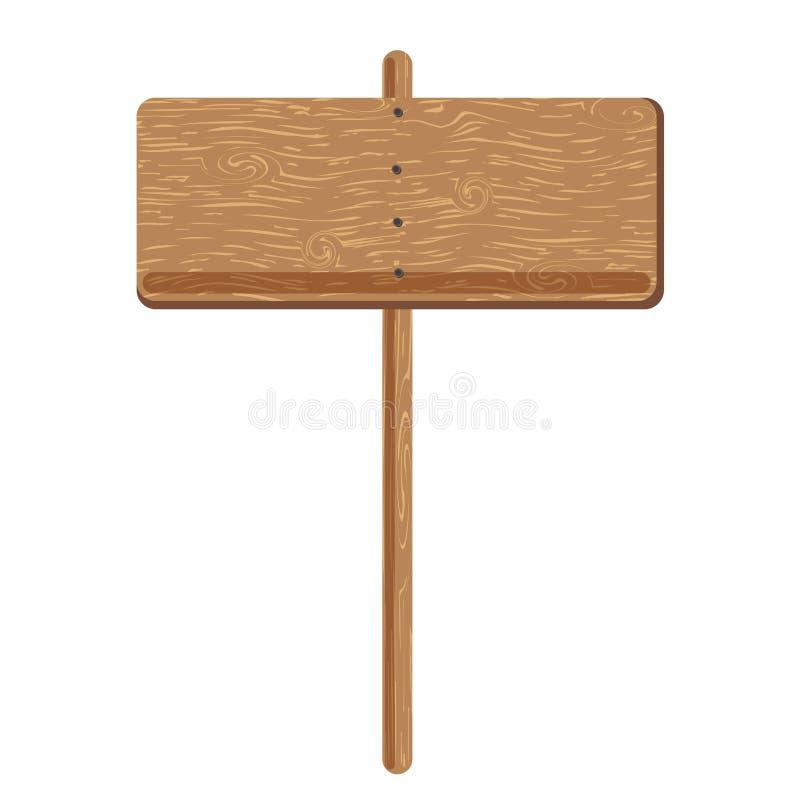 Bord do signage ou ícone de madeira do vetor do polo do sinal de propaganda ilustração do vetor