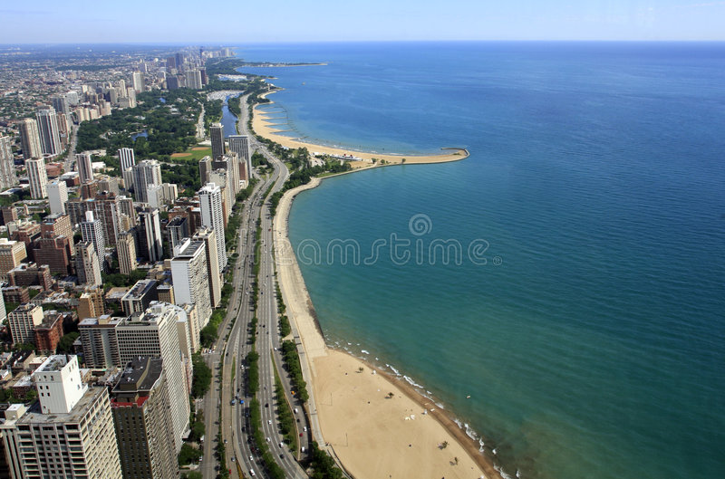 Bord du lac de Chicago photo stock