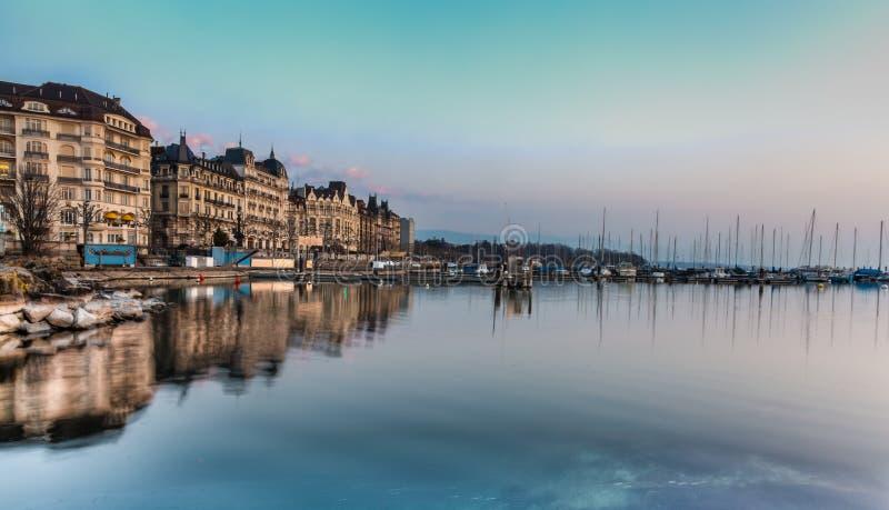 Bord du lac de Genève image stock