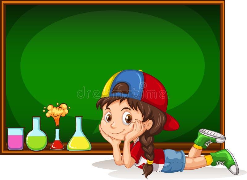 Bord en meisje stock illustratie