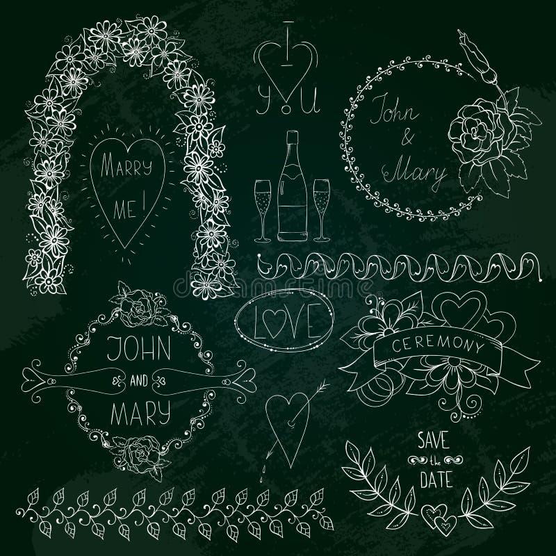 Bord grafisch hand getrokken abstract die bloem en hart voor huwelijk, verjaardag, liefdeontwerp wordt geplaatst De stijl van de  royalty-vrije illustratie