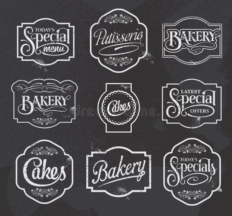 Bord kalligrafische vectorteken en van het etiketontwerp reeks stock illustratie