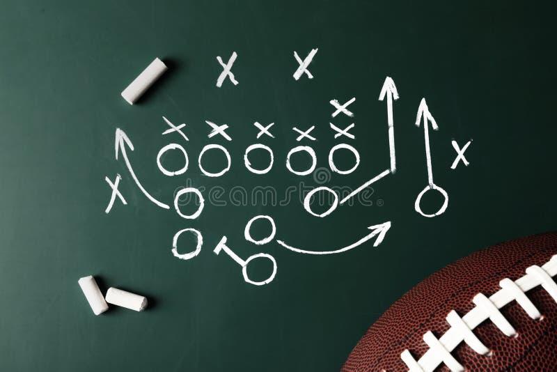 Bord met de regeling en het rugbybal van het voetbalspel vector illustratie