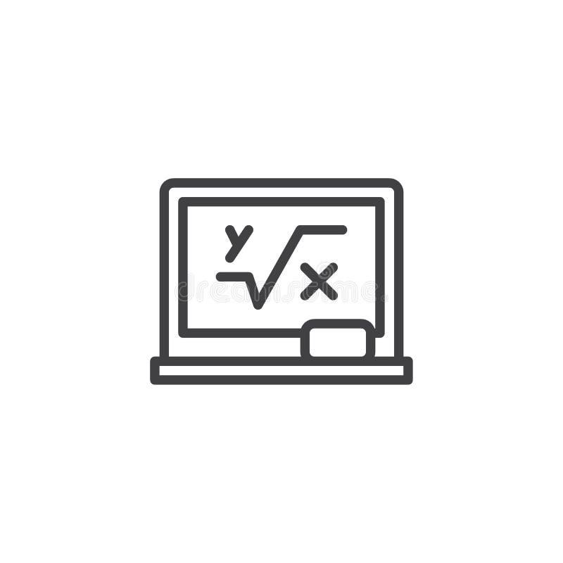 Bord met het wiskundige pictogram van het formuleoverzicht royalty-vrije illustratie