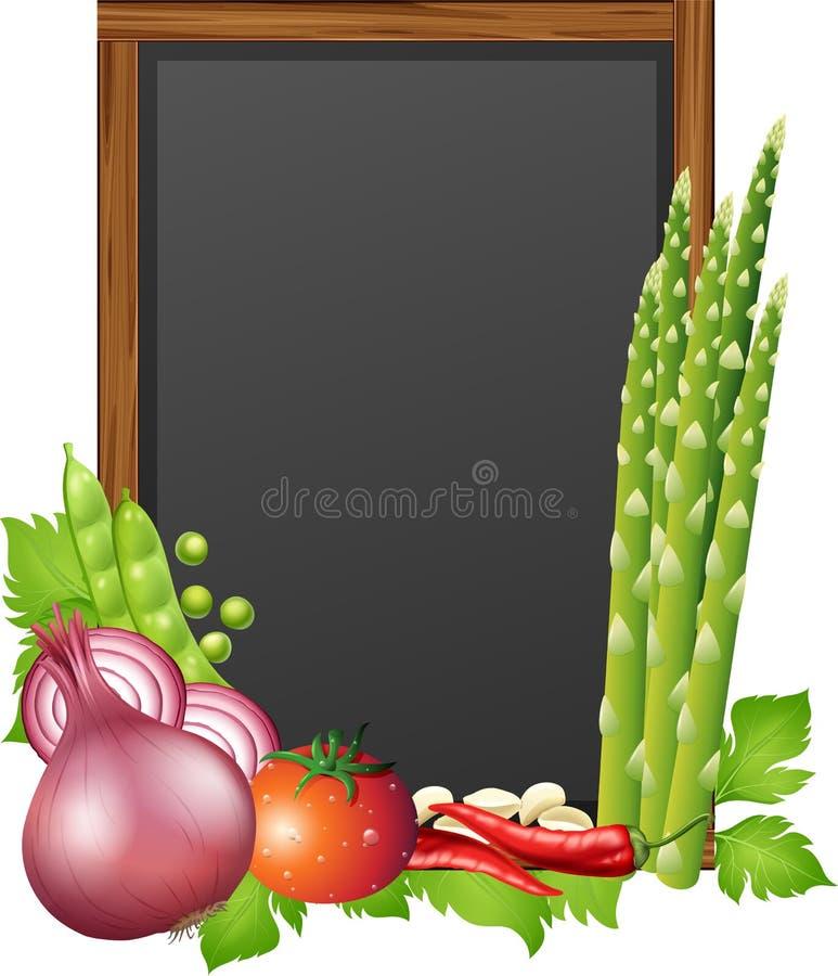 Bord met verse groenten vector illustratie