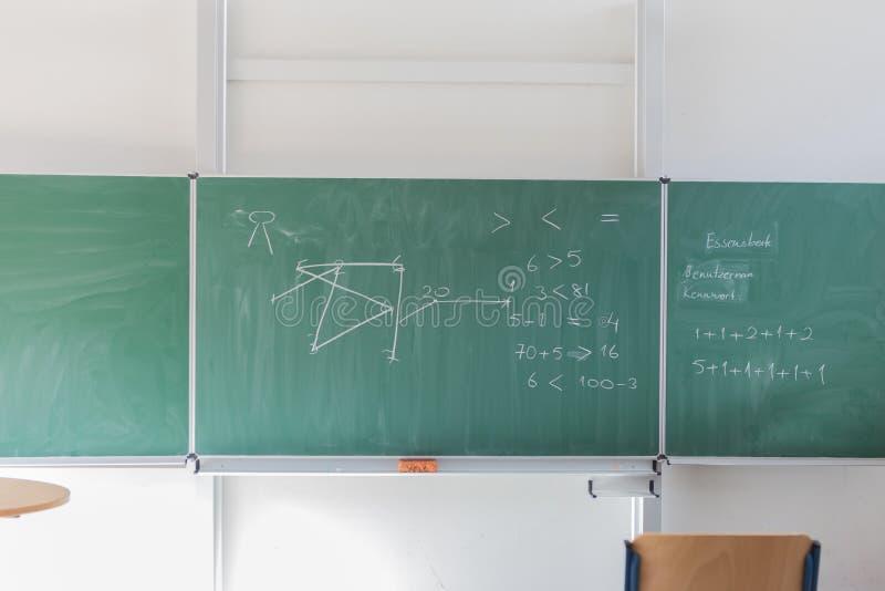 Bord met wiskundige formule stock foto
