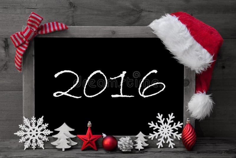 Bord Santa Hat Christmas Decoration Text 2016 royalty-vrije stock foto's