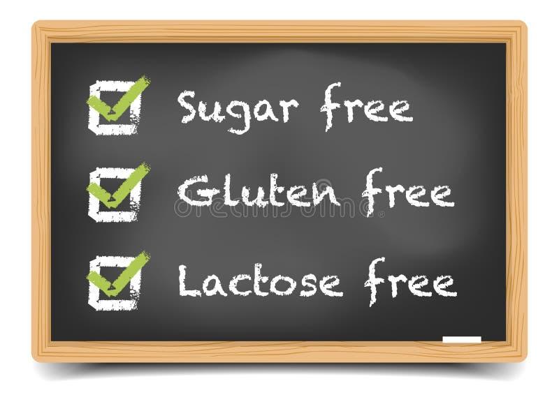 Bord Sugar Gluten Lactose vector illustratie