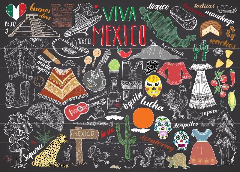 Bord van de de schets vastgestelde vectorillustratie van Mexico het hand getrokken vector illustratie