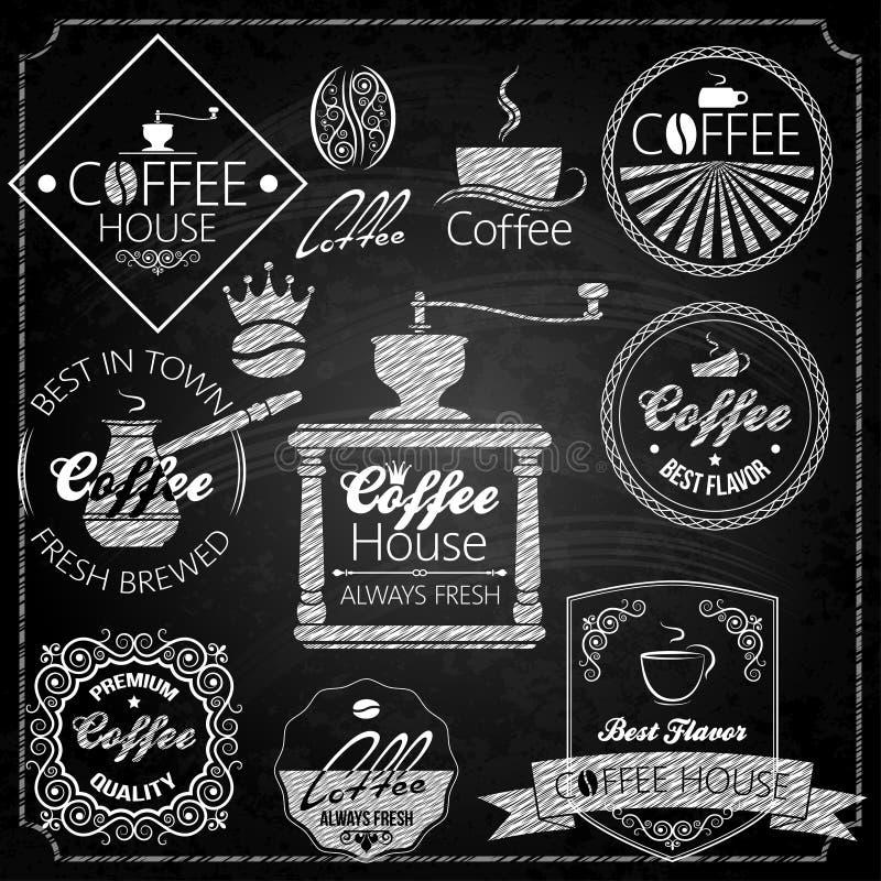 Bord van koffie het vastgestelde elementen stock illustratie