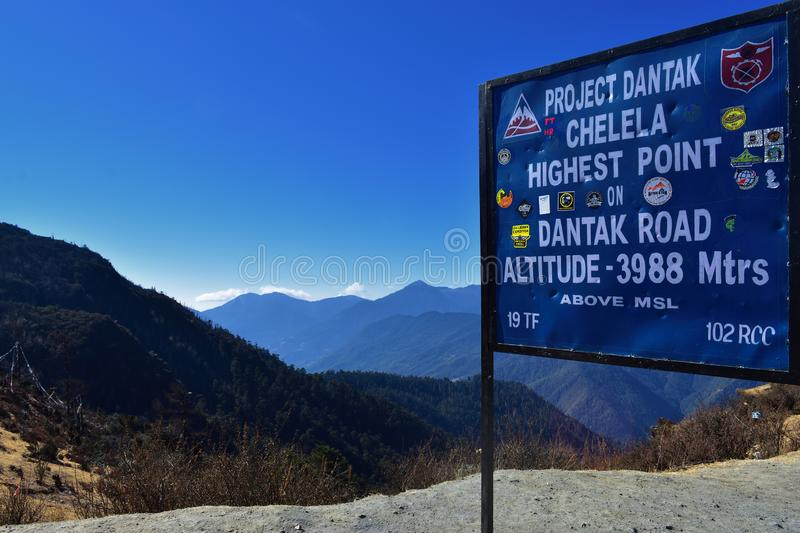 A bord written about Chelela PassThe Highest point between Paro and Haa valley Altitude 3988 mtrs stock photography