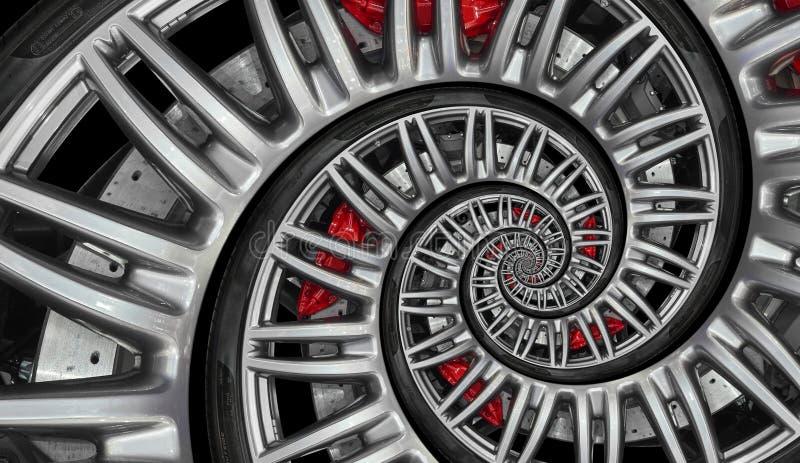 Borda abstrata da roda da espiral do carro desportivo com pneu, disco do freio Ilustração repetitiva do fundo do teste padrão do  ilustração do vetor