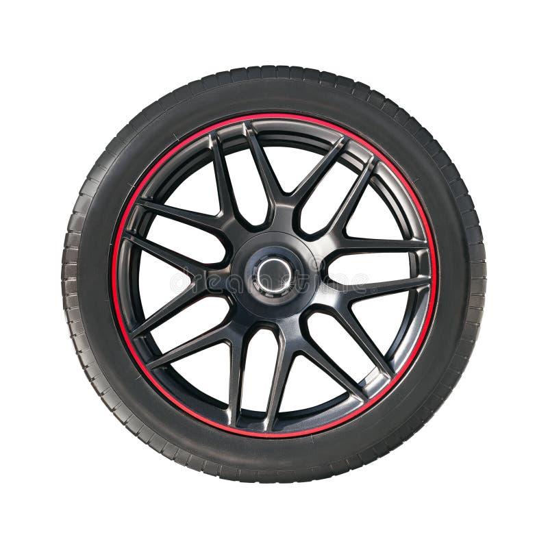 Borda da roda com pneu de borracha imagens de stock
