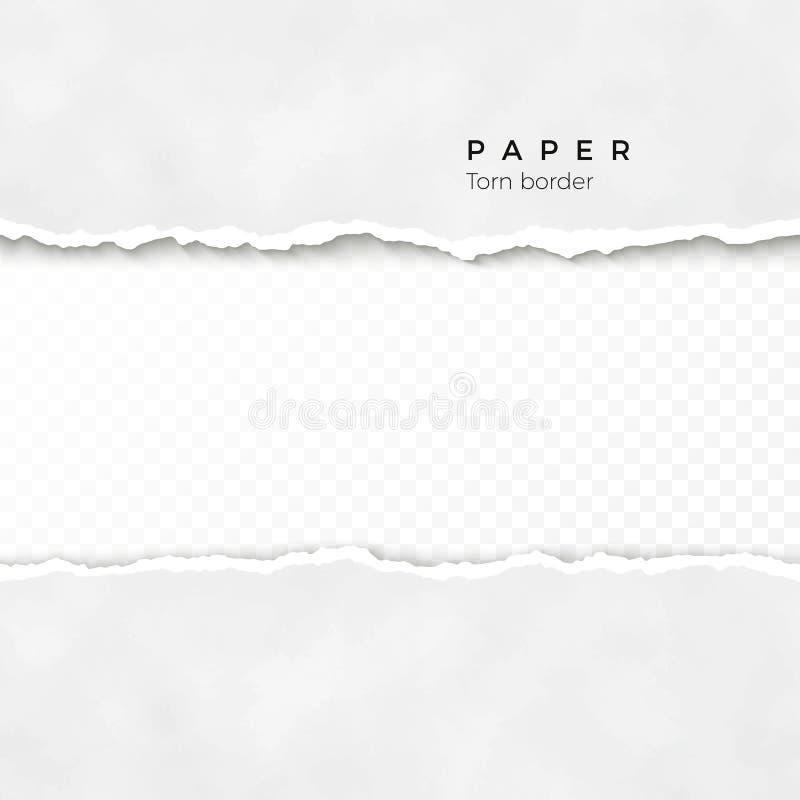 Borda de papel rasgada horizontal Textura (de papel) enrugada Beira quebrada áspera da listra de papel Ilustração do vetor ilustração royalty free