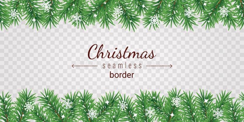 Borda sem costura da árvore de Natal sobre fundo transparente - terra de galhos de spruts verdes e flocos de neve brancos ilustração royalty free