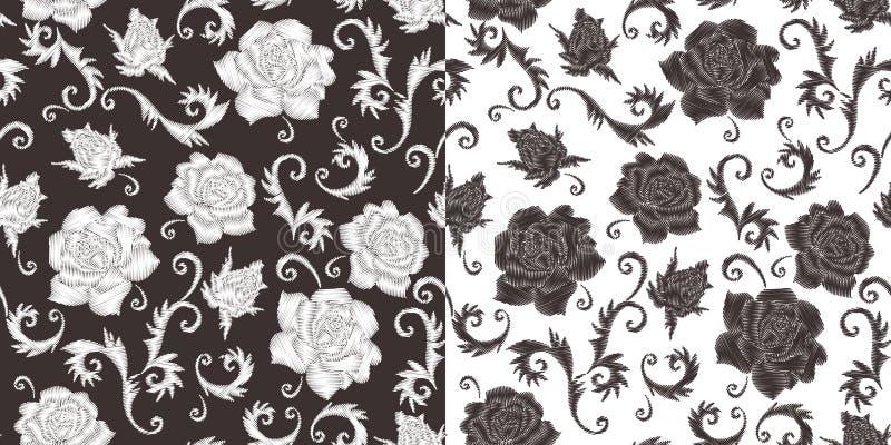 Bordado à moda Teste padrão sem emenda monocromático com as flores cor-de-rosa bordadas ilustração stock