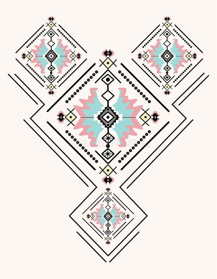 Bordado étnico del cuello ilustración del vector