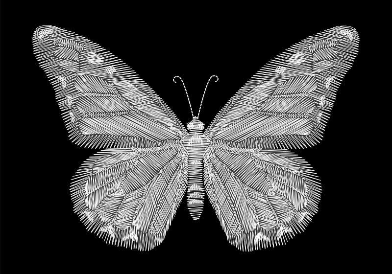 Bordado branco da borboleta no fundo preto linha étnica vestir do pescoço da forma dos gráficos do projeto ilustração royalty free