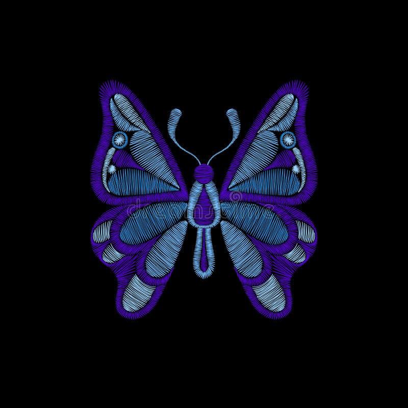 Bordado com borboleta Molde para a tela, matéria têxtil p floral ilustração royalty free
