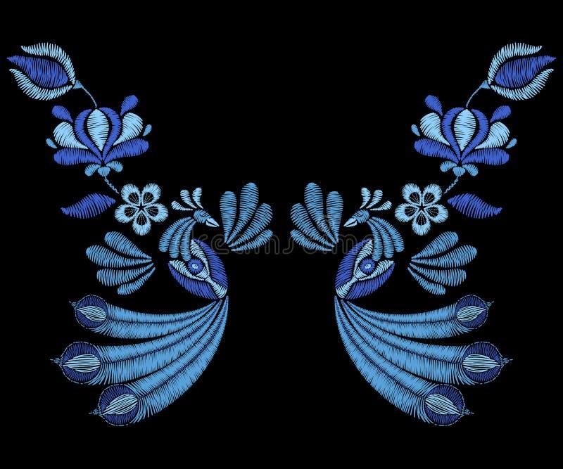 Bordado com pássaros do pavão, flores da mola Colar para o fabr ilustração royalty free