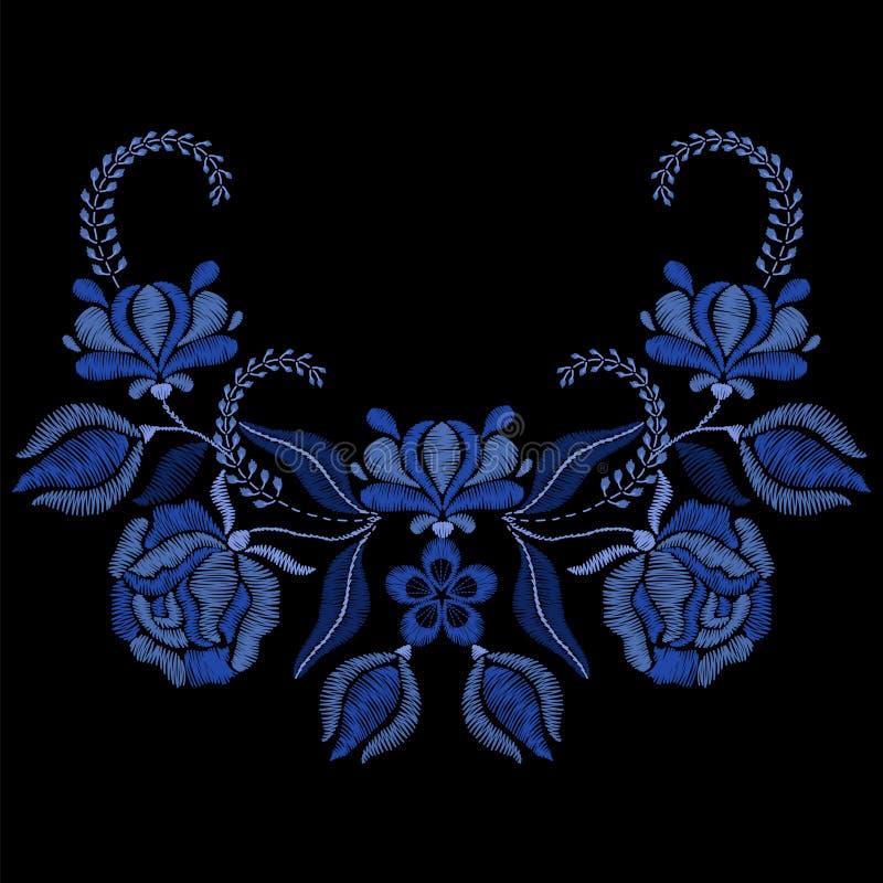 Bordado con las flores azules, rosas Collar para la tela, textil libre illustration